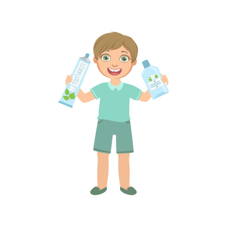 toothpaste tube: Boy Holding Big Toothpaste Tube And Mouthwash Bottle Simple Design Illustration In Cute Fun Cartoon Style Isolated On White Background Illustration