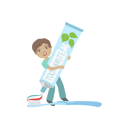 preventive: Boy Squeezing Giant Toothbaste Tube On Toothbrush Simple Design Illustration In Cute Fun Cartoon Style Isolated On White Background