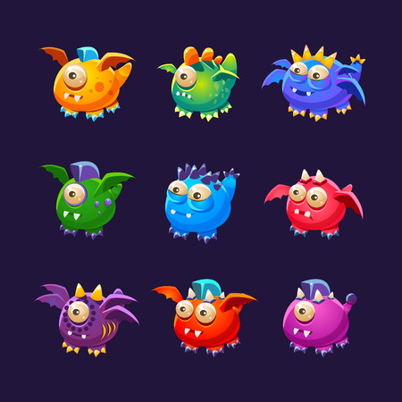 spot the difference: Little Alien Monsters With And Without Wings Set Of Bright Color Vector Icons Isolated On Dark Background. Cute Childish Fantastic Animal Characters Design.