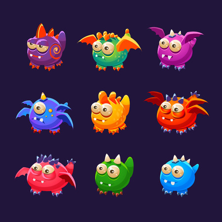 spot the difference: Little Alien Monsters With And Without Wings Collection Of Bright Color Vector Icons Isolated On Dark Background. Cute Childish Fantastic Animal Characters Design.