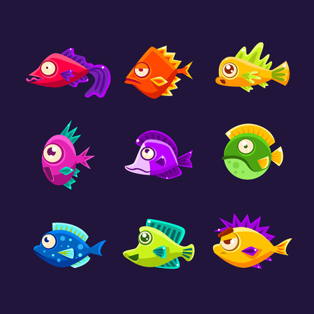 Colorful Tropical Fish Collection Of Bright Color Vector Icons Isolated On Dark Background. Cute Childish Fantastic Animal Characters Design.