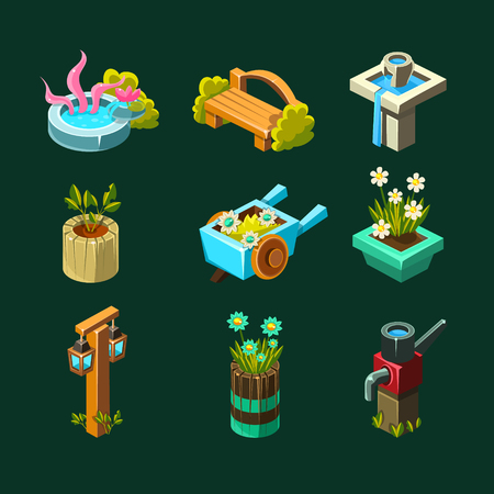 Video Game Garden Design Collection Of Elements In Cute Vector Childish Style Isolated On Dark Background