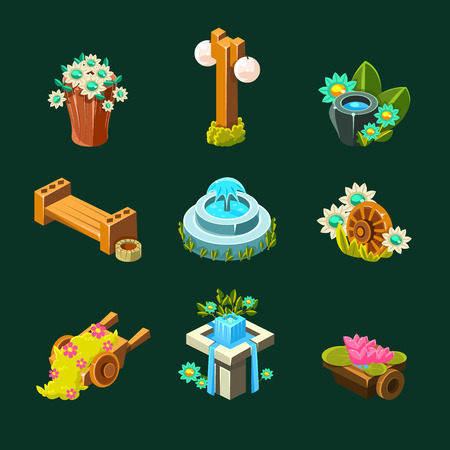 garden fountain: Video Game Garden Decoration Collection Of Elements In Cute Vector Childish Style Isolated On Dark Background