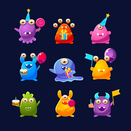 childish: Fantastic Monsters With Birthday Party Objects Cute Childish Stickers. Cartoon Colorful Alien Characters Isolated On Dark Background.