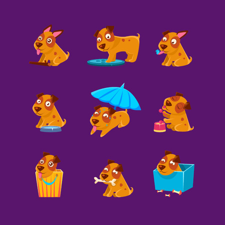 Pet Puppy Everyday Activities Collection Of Silly Childish Drawings Isolated On Purple Background. Funny Animal Colorful Vector Stickers Set.