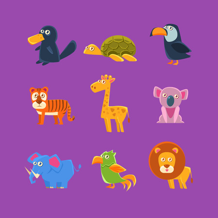 fauna: Exotic Animals Fauna Set Of Silly Childish Drawings Isolated On Purple Background. Funny Animal Colorful Vector Stickers Set.
