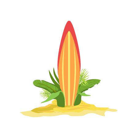 plant stand: Surfing Board Standing Up In The Bush Bright Color Cartoon Simple Style Flat Vector Illustraton Isolated On White Background Illustration