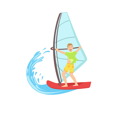 illustraton: Guy Windsurfing At The Sea Bright Color Cartoon Simple Style Flat Vector Illustraton Isolated On White Background