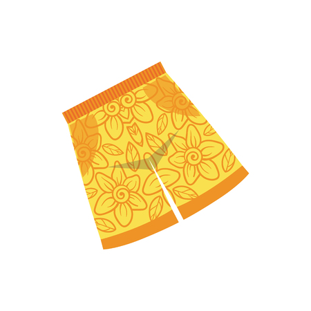 swimshorts: Pair Of Yellow Swimshorts With Floral Motive Bright Color Cartoon Simple Style Flat Vector Illustraton Isolated On White Background