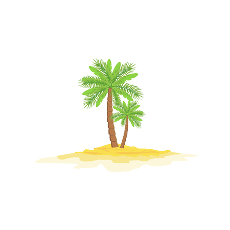 illustraton: Two Palm Trees Standing On Sandy Beach Bright Color Cartoon Simple Style Flat Vector Illustraton Isolated On White Background