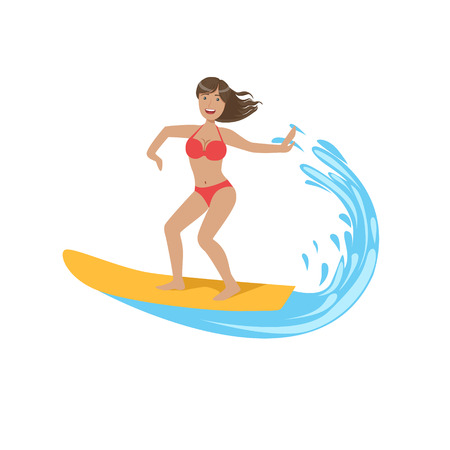 illustraton: Woman In Red Bikini Riding A Wave On Surf Bright Color Cartoon Simple Style Flat Vector Illustraton Isolated On White Background