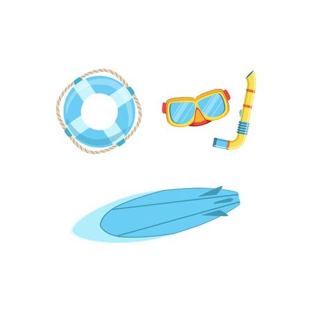 Conjunto de deportes acuáticos Euipment con máscara, tubo, tabla de surf y la boya brillante color de dibujos animados simple plana del estilo del vector Illustraton Aislado en el fondo blanco Ilustración de vector