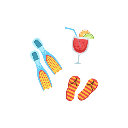 illustraton: Vacation Set With Fins, Fliip-Flops And Cocktail Bright Color Cartoon Simple Style Flat Vector Illustraton Isolated On White Background