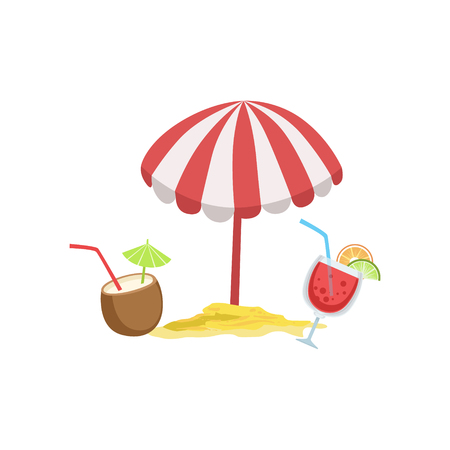 Two Cocktail Tropical Drinks And Beach Umbrella Bright Color Cartoon Simple Style Flat Vector Illustraton Isolated On White Background
