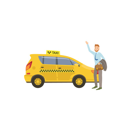 yellow taxi: Man Catching A Yellow Taxi Car Simple Childish Flat Colorful Illustration On White Background Illustration