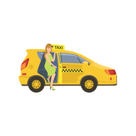 going green: Woman Entering A Yellow Taxi Car Simple Childish Flat Colorful Illustration On White Background