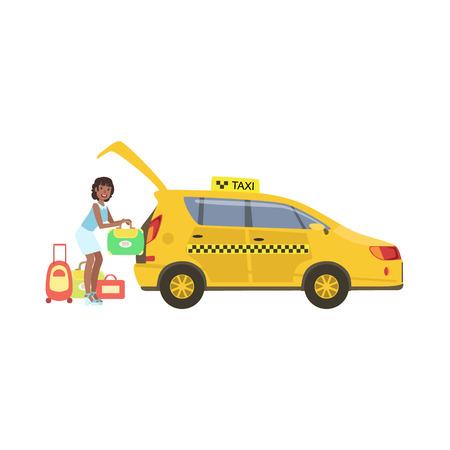 黄色のトランクに彼女の荷物を置く女性タクシー車シンプルな幼稚なフラット カラフルなイラスト白背景