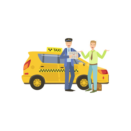 relieved: Taxi Driver Meeting A Client In Airport Standing Next To Yellow Taxi Car Simple Childish Flat Colorful Illustration On White Background