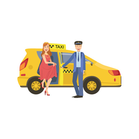 door opening: Driver Opening The Door For A Woman To Go Out From Yellow Taxi Car Simple Childish Flat Colorful Illustration On White Background Illustration