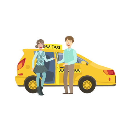 Pareja de jóvenes que se incorporan Taxi amarillo del coche simple ilustración infantil colorido plana en el fondo blanco Ilustración de vector