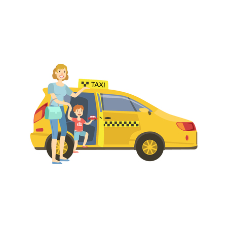 yellow taxi: Mother With Daughter Entering Yellow Taxi Car Simple Childish Flat Colorful Illustration On White Background