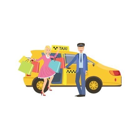 opening door: Driver Opening The Door For Woman With Many Shopping Bags Simple Childish Flat Colorful Illustration On White Background Illustration