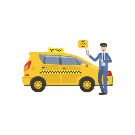 Driver Showing A Smartphone Taxi Service Application Standing Next To His Yellow Carv