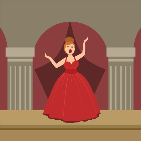 simplified: Opera Singer In Red Dress Performing On Stage Simplified Graphic Drawing In Bright Colors. Show On Stage Flat Vector Illustration