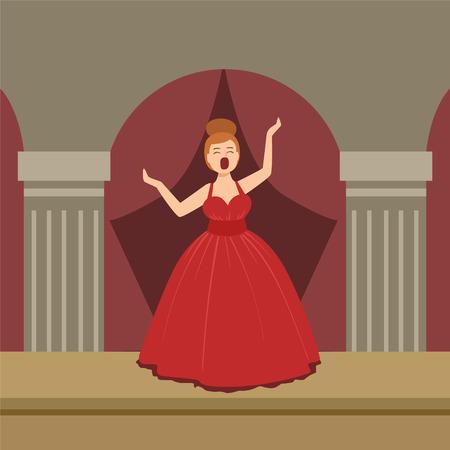 Zanger van de opera In Rode Kleding op het podium vereenvoudigd Grafische Tekening in heldere kleuren. Laat On Stage Flat Vector Illustration