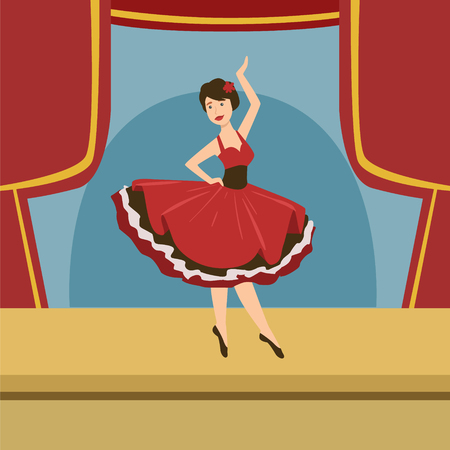 solo: Ballerina In Stylized Spanish Dress Solo Dance Simplified Graphic Drawing In Bright Colors. Show On Stage Flat Vector Illustration Illustration
