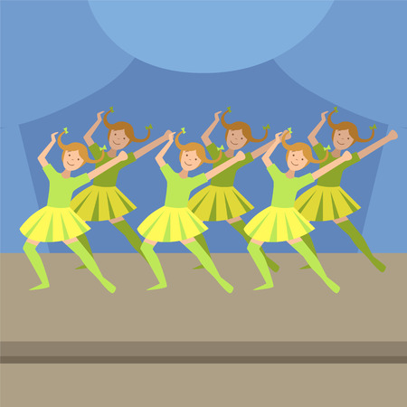 synchronized: Kids Synchronized Modern Dance Performance Simplified Graphic Drawing In Bright Colors. Show On Stage Flat Vector Illustration