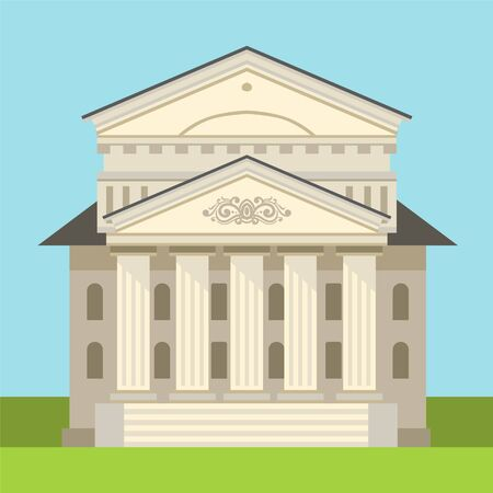 monumental: Exterior Of Classic Theatre Building Simplified Graphic Drawing In Bright Colors. Show On Stage Flat Vector Illustration