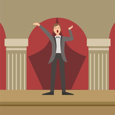 tenor: Opera Singer Performing In Classic Theatre Simplified Graphic Drawing In Bright Colors. Show On Stage Flat Vector Illustration Illustration