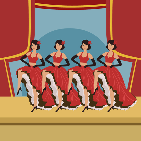 stage costume: Four Dancers Doing Cancan On Theatre Stage Simplified Graphic Drawing In Bright Colors. Show On Stage Flat Vector Illustration