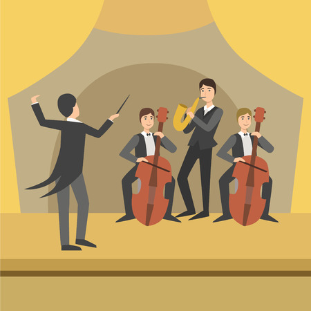 cellos: Trio With Saxophone And Two Cellos With Their Director Performing Simplified Graphic Drawing In Bright Colors. Show On Stage Flat Vector Illustration