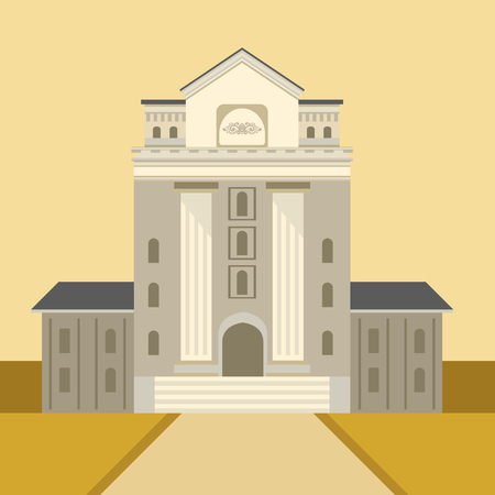 simplified: Exterior Of Classic Theatre Building Simplified Graphic Drawing In Bright Colors. Show On Stage Flat Vector Illustration