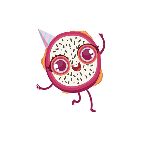 girly: Dragon Fruit Girly Cartoon Character.Childish Design Sticker With Humanized Bright Color Fruit Character.