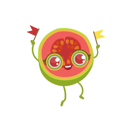 guava fruit: Pink Guava Girly Cartoon Character.Childish Design Sticker With Humanized Bright Color Fruit Character. Illustration