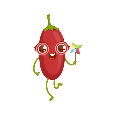 girly: Goji Berry Girly Cartoon Character.Childish Design Sticker With Humanized Bright Color Fruit Character. Illustration