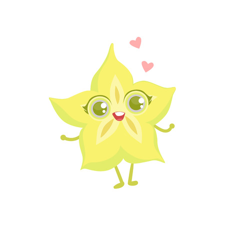 girly: Carambola Girly Cartoon Character.Childish Design Sticker With Humanized Bright Color Fruit Character.