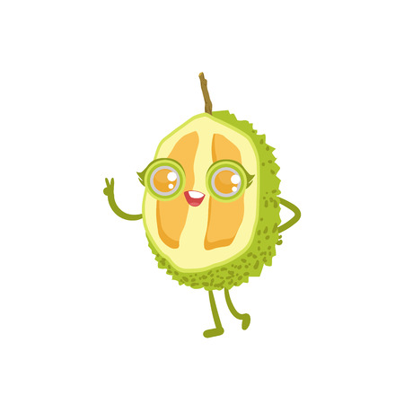 girly: Durian Girly Cartoon Character.Childish Design Sticker With Humanized Bright Color Fruit Character.