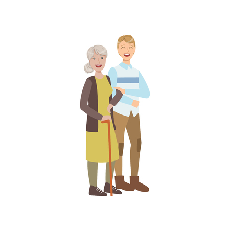 manner: Volunteer Walking The Old Lady With Stick Flat Illustration Isolated On White Background. Simplified Cartoon Character In Cute Childish Manner. Illustration