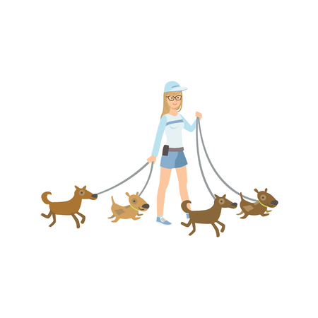 rescue dog: Girl Volunteer Walking Rescued Dogs Flat Illustration Isolated On White Background. Simplified Cartoon Character In Cute Childish Manner.