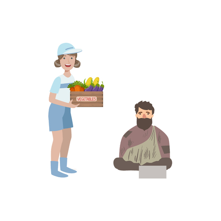 dirty girl: Volunteer Giving Food To Homeless Man Flat Illustration Isolated On White Background. Simplified Cartoon Character In Cute Childish Manner.