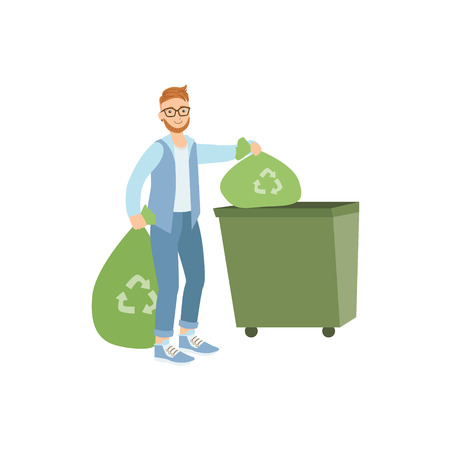 selfless: Volunteer Throwing Away Trash For Recycling Flat Illustration Isolated On White Background. Simplified Cartoon Character In Cute Childish Manner.