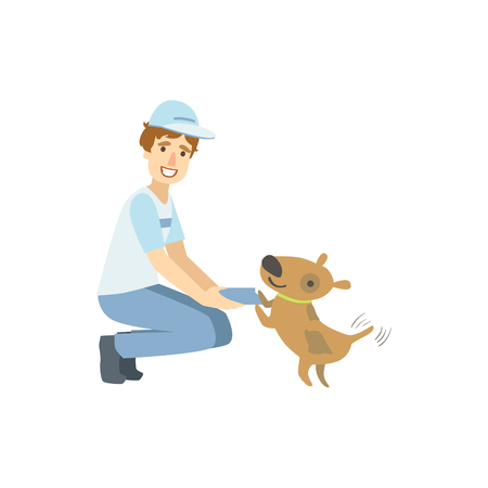 crouching: Volunteer Playing With The Rescue Dog Flat Illustration Isolated On White Background. Simplified Cartoon Character In Cute Childish Manner.
