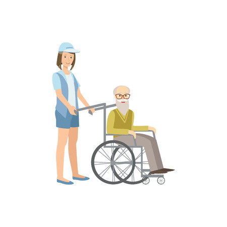 manner: Volunteer Rolling Old Man In Wheelchair Flat Illustration Isolated On White Background. Simplified Cartoon Character In Cute Childish Manner.
