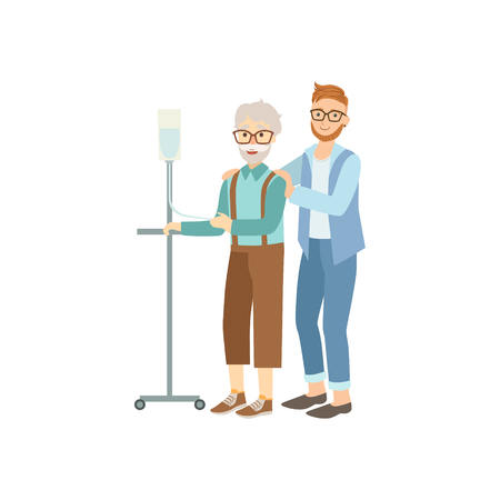 old person: Volunteer Helping Old Man With Iv In Hospital Flat Illustration Isolated On White Background. Simplified Cartoon Character In Cute Childish Manner.