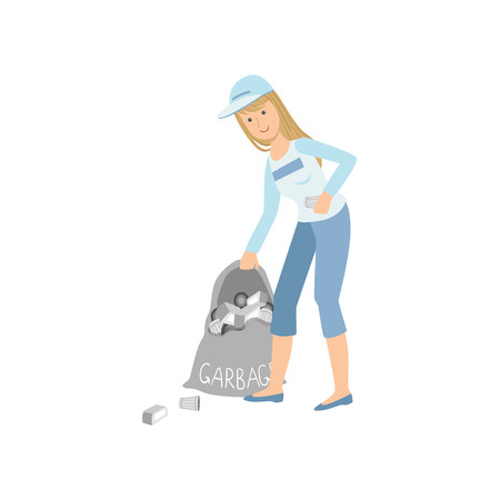 picking up: Volunteer Picking Up Garbage Flat Illustration Isolated On White Background. Simplified Cartoon Character In Cute Childish Manner.