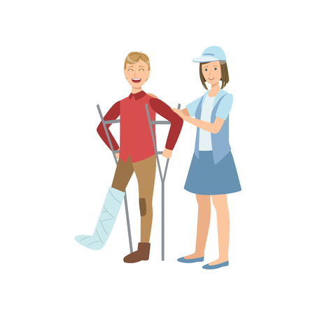 crouches: Volunteer Helping The Guy On Crouches Flat Illustration Isolated On White Background. Simplified Cartoon Character In Cute Childish Manner.